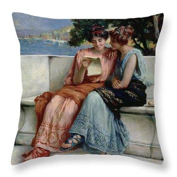 Confidences Throw Pillow by Guglielmo Zocchi