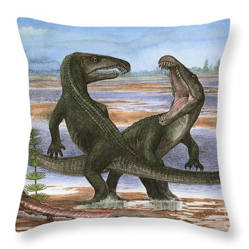 Confrontation Between Two Prehistoric Throw Pillow by Sergey Krasovskiy