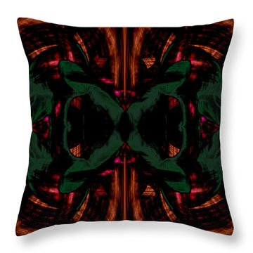 Conjoint - Copper And Green Throw Pillow by Christopher Gaston