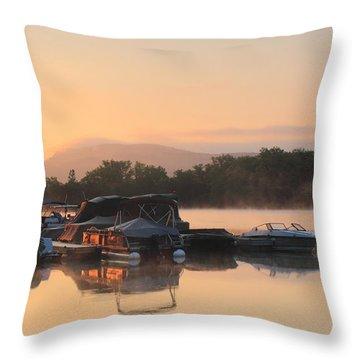 Connecticut River Oxbow Morning Fog Mount Holyoke Throw Pillow by John Burk