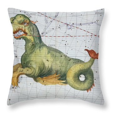 Constellation Of Cetus The Whale Throw Pillow by James Thornhill