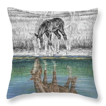 Contemplating Reality - Mare And Foal Horse Print Throw Pillow