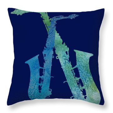 Cool Jazzy Duet Throw Pillow by Jenny Armitage