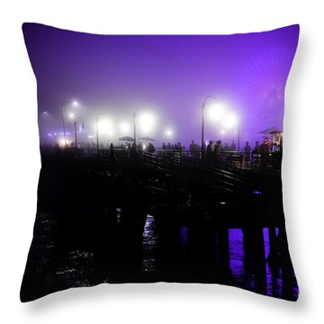 Cool Night At Santa Monica Pier Throw Pillow