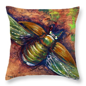 Copper Beetle Throw Pillow