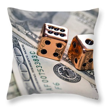 Copper Dice And Money Throw Pillow by Susan Leggett