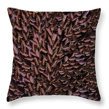 Copper Leaf Throw Pillow by David Dehner