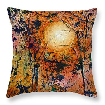 Throw Pillow featuring the painting Copper Moon by Dan Whittemore