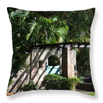Throw Pillow featuring the photograph Coral Gables Gate by Ed Gleichman