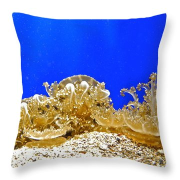 Coral Like Golden Crowns Throw Pillow by Kirsten Giving