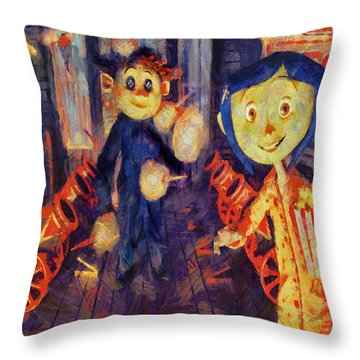 Throw Pillow featuring the painting Coraline Circus by Joe Misrasi