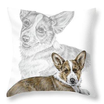 Corgi Dog Art Print Color Tinted Throw Pillow