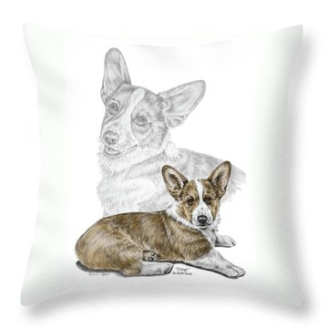 Throw Pillow featuring the drawing Corgi Dog Art Print Color Tinted by Kelli Swan