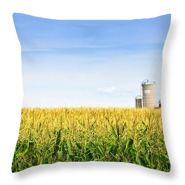 Corn Field With Silos Throw Pillow