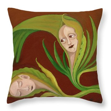 Corn Love Fantastic Realism Faces In Green Corn Leaves Sleeping Or Dead Loving Or Mourning Gree Throw Pillow