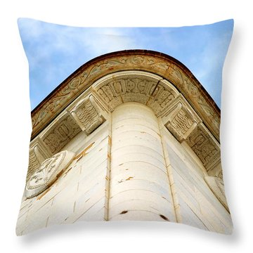 Corner Building Throw Pillow by Henrik Lehnerer