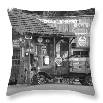 Corner Gas Station Throw Pillow