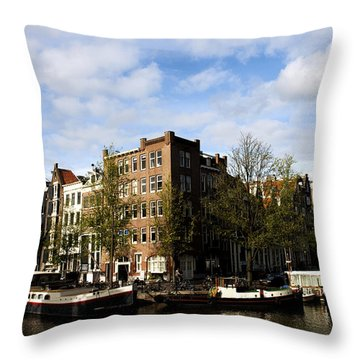 Corner Of Prinsengracht And Brouwersgracht Throw Pillow by Fabrizio Troiani