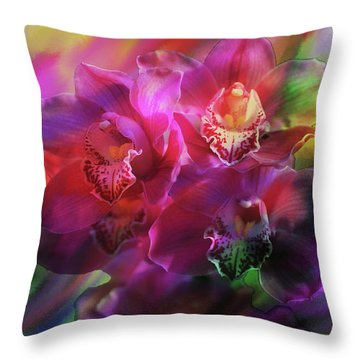 Coronation Orchids  Throw Pillow by Don Wright