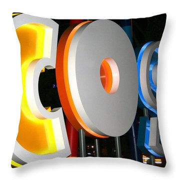 Cosi In Neon Lights Throw Pillow by Laurel Talabere