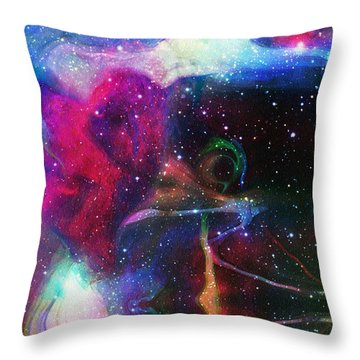 Cosmic Connection Throw Pillow by Linda Sannuti