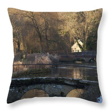 Cotswold River Scene Throw Pillow
