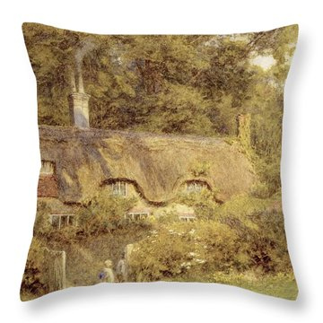 Cottage At Farringford Isle Of Wight Throw Pillow by Helen Allingham