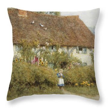 Cottage At West Horsley Surrey Throw Pillow by Helen Allingham