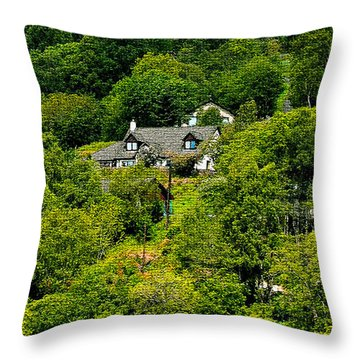 Cottage In The Woods Throw Pillow by Pravine Chester