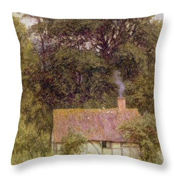 Cottage Near Brook  Throw Pillow by Helen Allingham