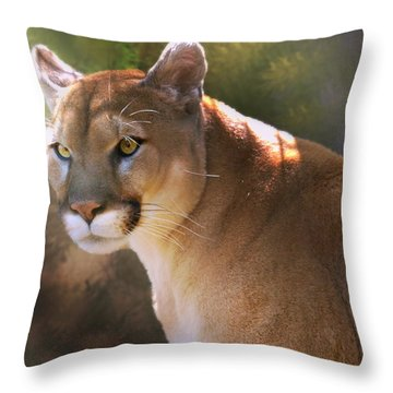Throw Pillow featuring the digital art Cougar by Mary Almond