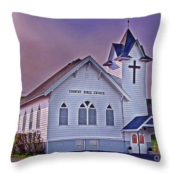 Country Church At Sunset Art Prints Throw Pillow by Valerie Garner