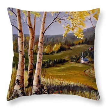 Country Church Throw Pillow by Marilyn Smith