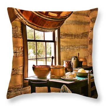 Throw Pillow featuring the digital art Country Kitchen by Mary Almond