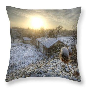 Country Snow And Sunrise Throw Pillow by Yhun Suarez