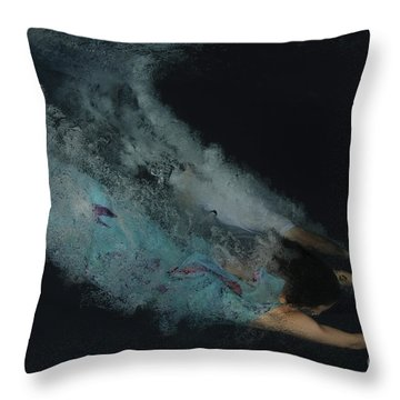 Couple Dive Together Into Water. Throw Pillow by Hagai Nativ