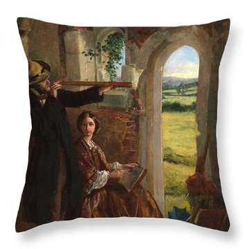 Couple Observing A Landscape Throw Pillow by English School