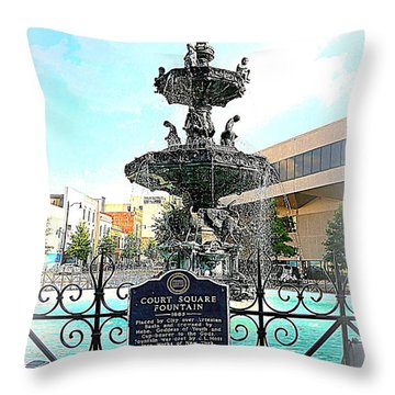 Court Square Fountain Throw Pillow by Carol Groenen