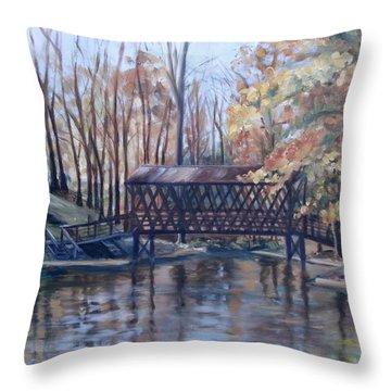 Covered Bridge At Lake Roaming Rock Throw Pillow by Donna Tuten