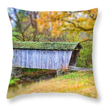 Covered Bridge Throw Pillow by Darren Fisher