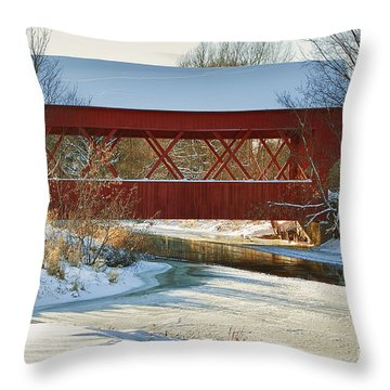 Covered Bridge Throw Pillow by Eunice Gibb