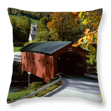 Covered Bridge In Vermont Throw Pillow by Rafael Macia and Photo Researchers