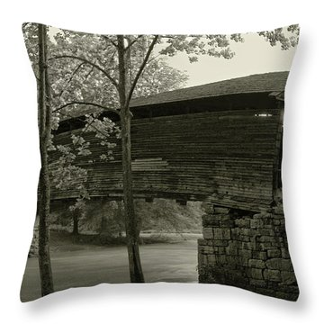 Throw Pillow featuring the photograph Covered Bridge by Mary Almond