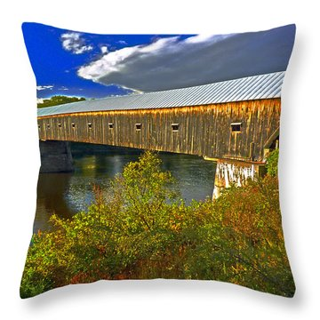 Throw Pillow featuring the photograph Covered Bridge by William Fields