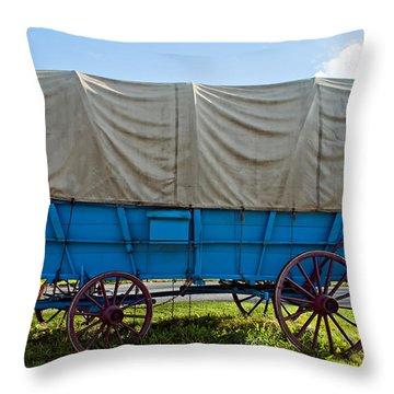 Covered Wagon Throw Pillow by Steve Harrington