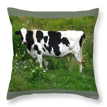 Cow In The Flowers Throw Pillow