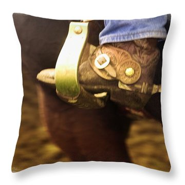 Cowboy Boot Throw Pillow by Carson Ganci