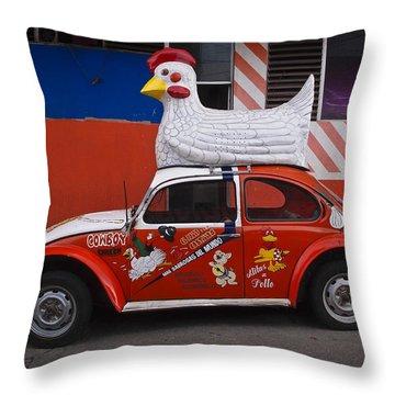 Cowboy Chicken Throw Pillow by Skip Hunt