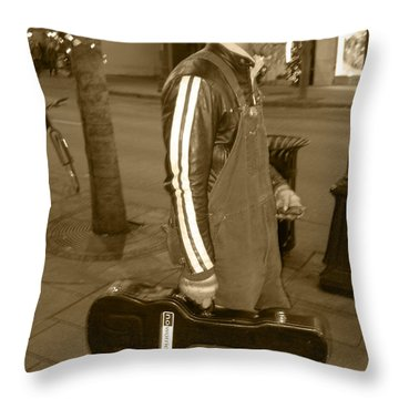 Cowboy Musician On Streets Throw Pillow by Kym Backland