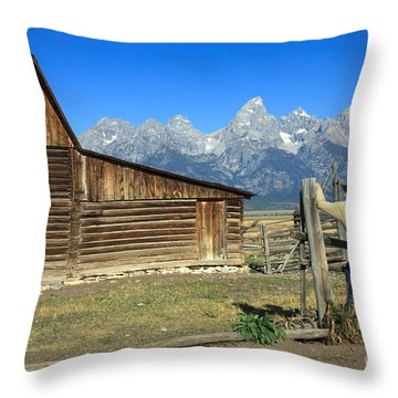 Throw Pillow featuring the photograph Cowboy With Grand Tetons Vista by Karen Lee Ensley